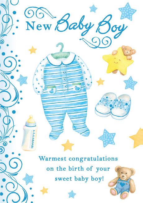 Blue baby onsie for new Baby boy. Inside: Congratulations on the safe arrival of your new baby boy! Unit pack of 6 cards. Retail $3.99
