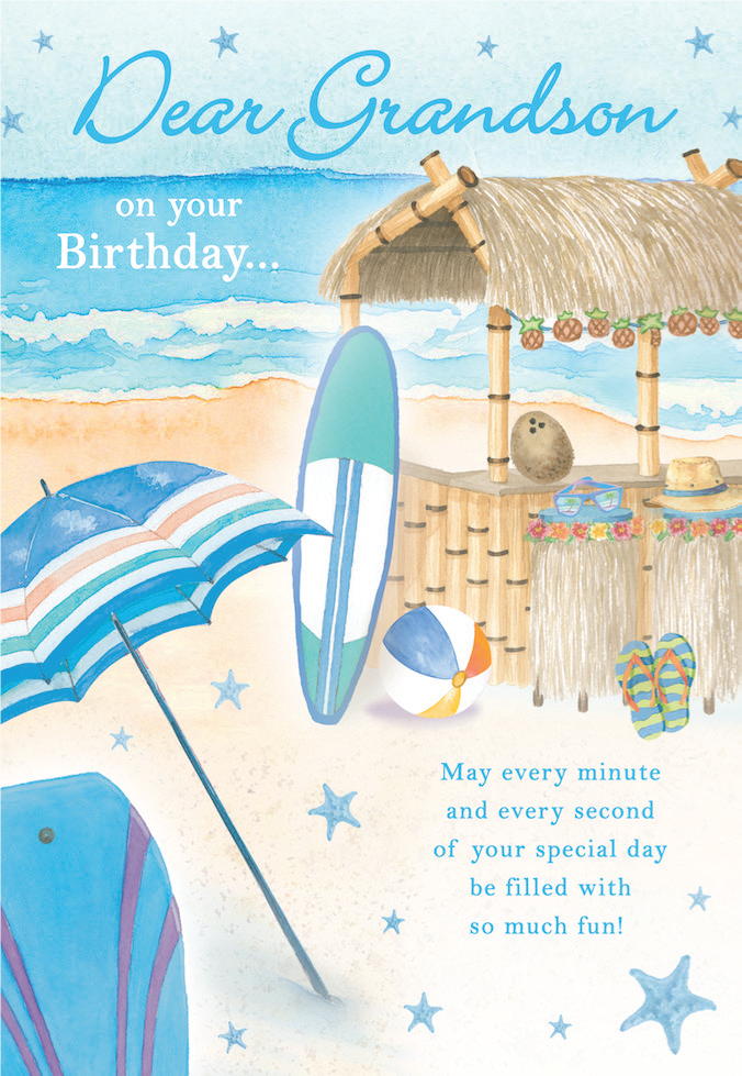 Beach themed Grandson birthday  greeting card. Inside: Here's to another year of experiences, joy, happiness and surprises!. Unit pack of 6 cards. Retail $3.99