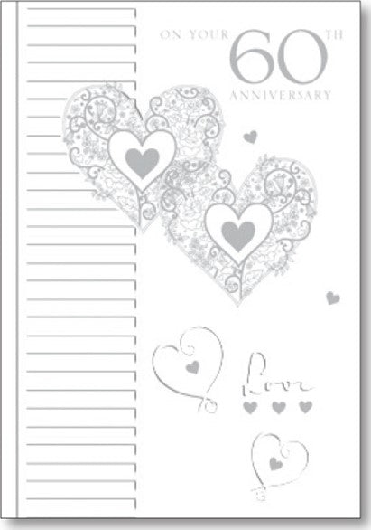 2 HEARTS - 60TH ANNIVERSARY Retail: $2.99 Unit pack 6 Inside: Wishing you both every happiness...