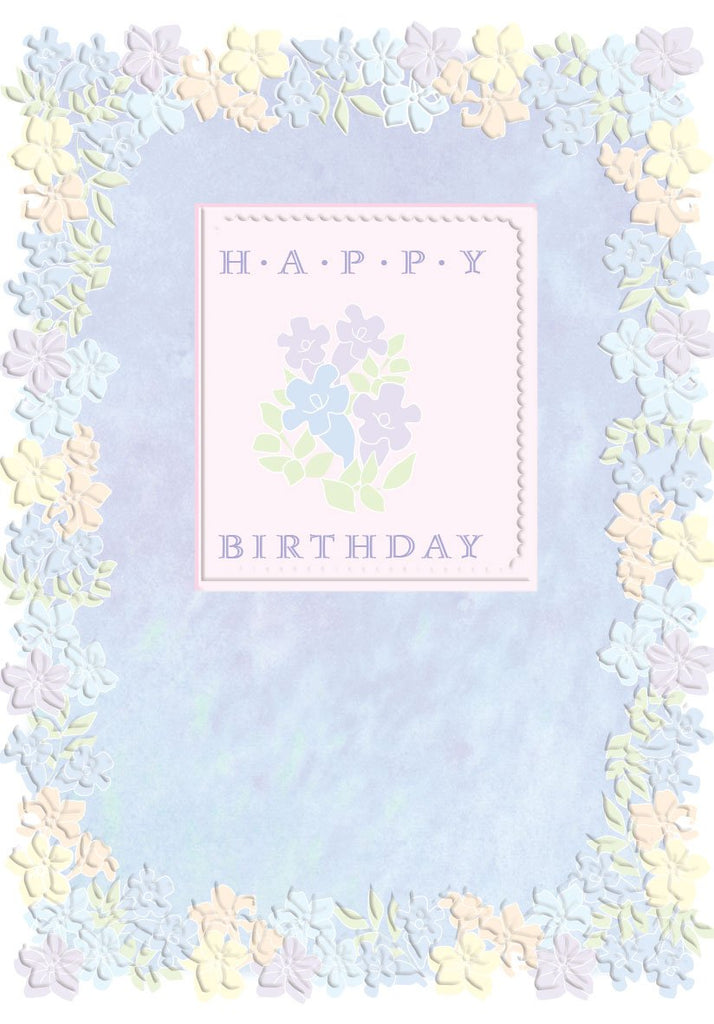 Lilac background with light yellow and purple floral border. embossed, die-cut birthday greeting card Carol Wilson Fine Arts. Inside: Happy Birthday! May your days be filled with happiness in the year that lies ahead! Retail: $4.25 Unit pack 6