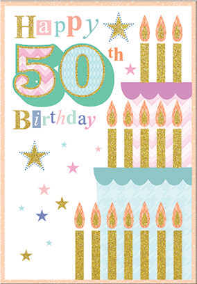 Cake with candles- 50th age general birthday card. Retail $3.49. Unit Quantity 6. Inside: May this special time take you on a journey never imagined...
