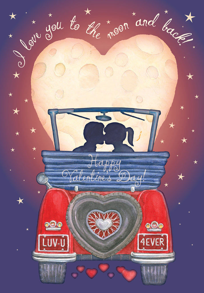 Moon and back- Carol Wilson Valentine's General greeting card. Unit Quantity: 3. Retail: $4.25. Inside: Happy Valentine's day!