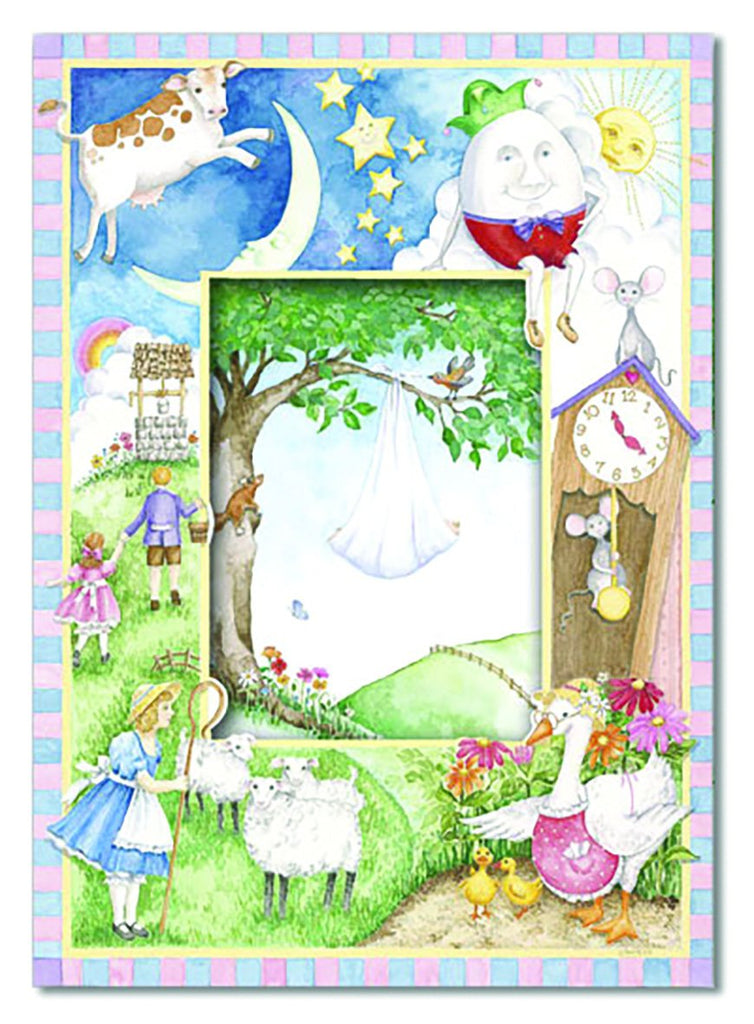 Classic nursery rhyme themed embossed die cut new baby greeting card from Carol Wilson Fine Arts Inside: In a story, filled with marvels and fun.... Retail: $4.25 Unit pack 6