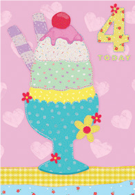 Ice cream sundae- 4th age girl birthday card. Retail $2.99. Unit Quantity 6. Inside: Happy birthday to a very special 4 year old.