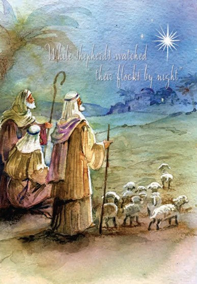 CHRISTMAS CARD-WATERCOLOR SHEPPARDS Retail: $2.99 Unit pack 4 Inside: May the warmth of God's love...