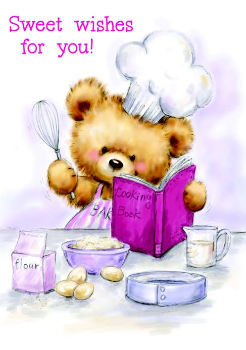Bear chef Birthday card from the Boo Bears Collection. Retail $2.99. Unit Quantity 6. Inside: Hoping you enjoy every delicious moment! Happy Birthday.