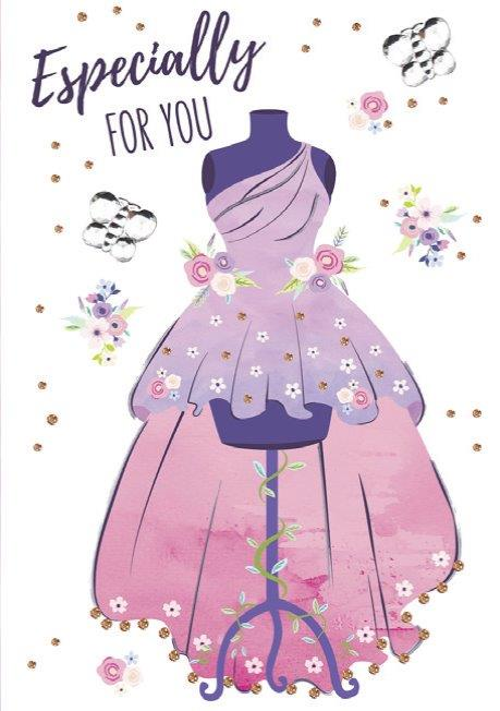Fancy Pink Party Dress female themed birthday card from the Blush Collection by Carol Wilson Fine arts. Inside: ...Wishing you happiness! Unit pack of 6 cards. Retail: $4.49
