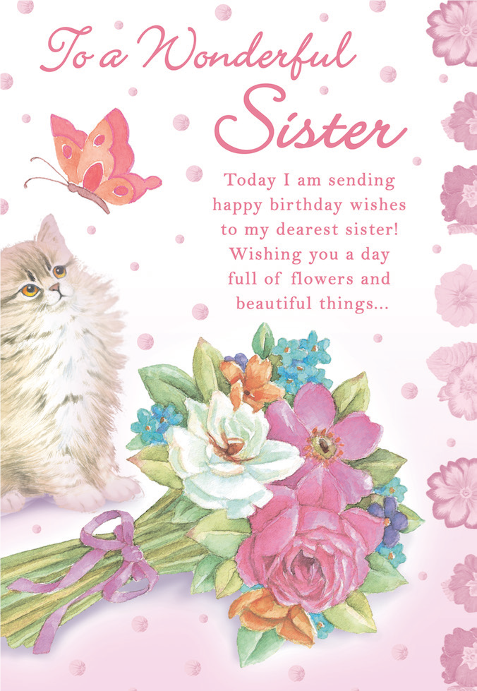 Kitten themed Sister female birthday greeting card. Inside Hoping your special day is filled with sunshine and smiles! Unit pack of 6 cards. Retail $3.99