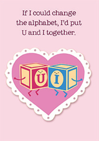 Toy blocks- Valentine's Humor greeting card. Unit Quantity: 3. Retail: $2.99. Inside: Happy Valentine's day!