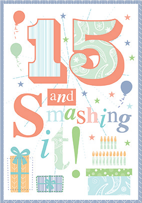 Colorful- 15th age birthday card. Retail $3.49. Unit Quantity 6. Inside: Wishing you a wonderful and bright future...