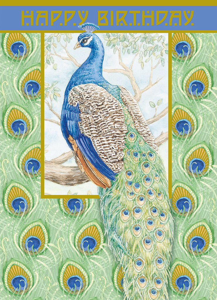 Proud blue and green peacock on a green/white background, embossed die cut general birthday greeting card from Carol Wilson Fine Arts. Inside: May your day be dazzling. Retail: $4.25 Unit pack 6