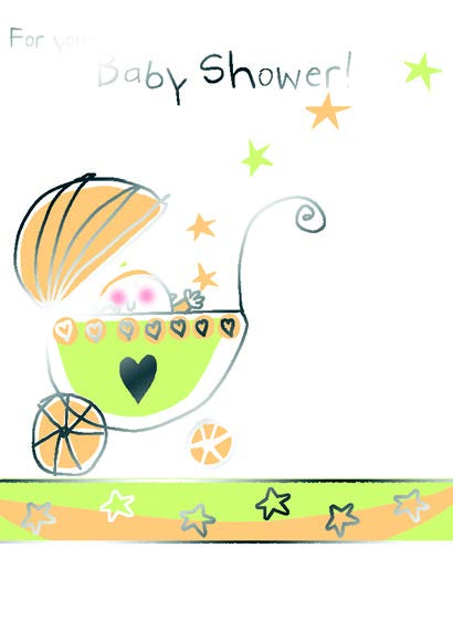 BABY IN PRAM AND STARS. New baby greeting card. Retail;: $2.59. Inside: Cuddles and kisses and lots of warm wishes.