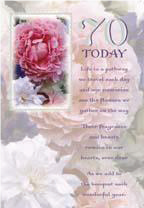 Pink rose- 70th age female birthday card. Retail $3.49. Unit Quantity 6. Inside: Hoping all the special moments and precious memories fill your heart..