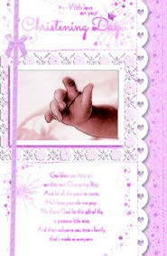 Baby hand- Christening Girl greeting card. Retail: $4.49. Unit pack: 6. Inside: Sending you wishes of love and light on this special day...