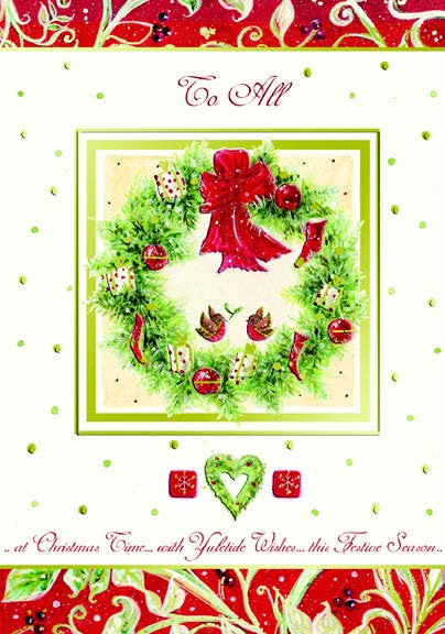 CHRISTMAS CARD- WREATH - TO ALL RETAIL:$3.99 UNIT PACK 4 INSIDE: THE SEASON IS UPON US...