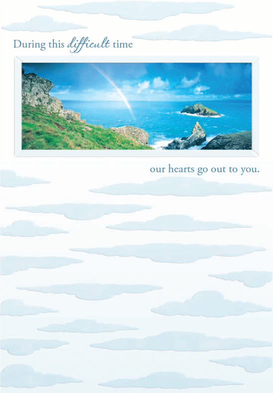 Rainbow- Sympathy greeting card. Retail: $2.59. Unit pack: 6. Inside: Friends are needed for both joy and sorrow...