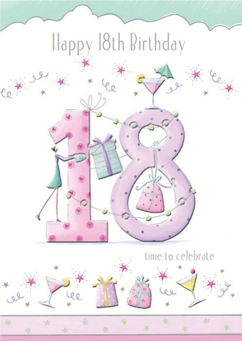 Large pink number- 18th age female birthday card. Retail $3.99. Unit Quantity 6. Inside: Now life becomes even more fabulous! ...