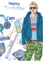 Teen boy with music- Kid Birthday card. Retail $3.49. Unit Quantity 6. Inside: Turn it up party boy!