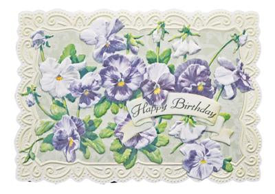 Purple and white pansies floral embossed die cut greeting card from Carol Wilson Fine Arts. Inside: May every birthday wish come true. This is what I wish for you! Happy Birthday! Retail: $4.25. Unit pack 6