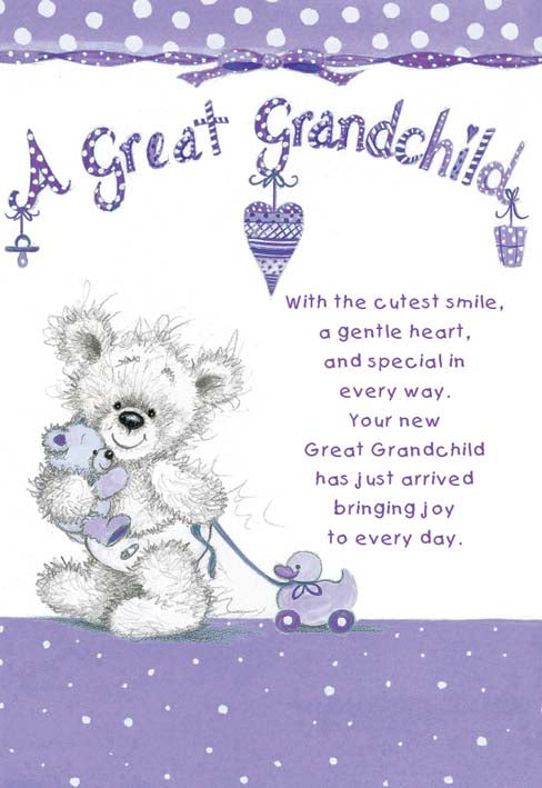 BEAR & TOYS GREAT GRANDCHILD Retail: 3.49 Unit pack 6 Inside: May your new Great Grandchild provide you with love...
