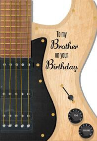 Guitar- Brother family birthday card. Retail $4.49. Unit Quantity 6. Inside: Have a great birthday!