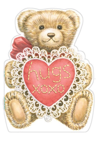Teddy bear hugs- Carol Wilson Valentine's General greeting card. Unit Quantity: 3. Retail: $4.25. Inside: Bear hugs for you on Valentine's Day!..