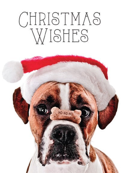 CHRISTMAS CARD-BOXER WITH TREAT ON NOSE Retail: $2.99 Unit pack 4 Inside: Santa nose you've been good...