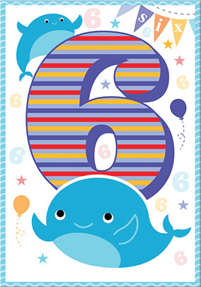 Whale- 6th age birthday card. Retail $3.49. Unit Quantity 6. Inside: I hope that your birthday is a fun and amazing as you imagine.