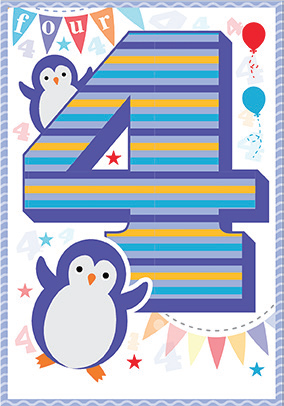 Penguin- 4th age birthday card. Retail $3.49. Unit Quantity 6. Inside: This year, your fourth birthday will be full of friends, fun, and gifts!...