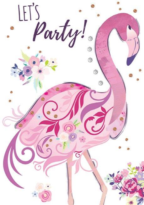 Pink Flamingo themed birthday card from the Blush Collection by Carol Wilson Fine arts. Inside: ..Wishing you great happiness!! Unit pack of 6 cards. Retail: $4.49