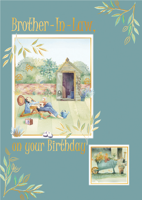Man in garden- Brother family birthday card. Retail $2.59. Unit Quantity 6. Inside: Wishing you a day filled with happiness, a sens of contentment...