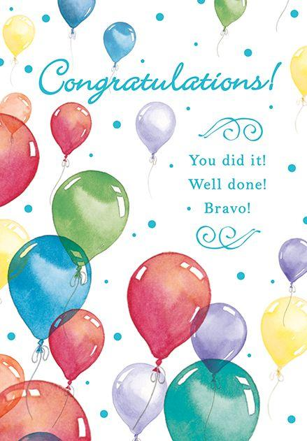 Balloon Bouquet  Congratulations greeting card. Inside: Keep reaching for the stars!. Unit pack of 6 cards. Retail $3.99