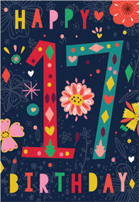 Colorful- 17th age female birthday card. Retail $2.99. Unit Quantity 6. Inside: Have a fabulous birthday.