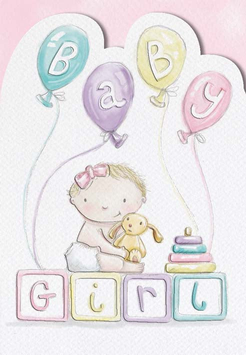 Blocks and balloons new baby girl greeting card. Retail: $2.99. Unit pack 6 Inside: New dreams to dream and new joys for all!