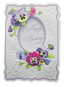 Embossed purple pansies general birthday greeting card from Carol Wilson Fine Arts Inc. Inside: Sending you fond wishes for a very special day. Retail: $4.25 Unit pack 6