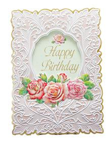 Pink rose spray on white embossing, general birthday greeting card from Carol Wilson Fine Arts. Inside: Wishing you a day that's beautiful in every way. Retail: $4.25 Unit pack 6