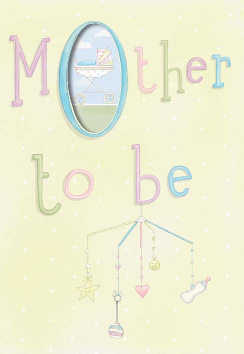 Hanging baby mobile mother to be baby greeting card. Retail: $2,99 Unit pack 6. Inside: Congratulations!
