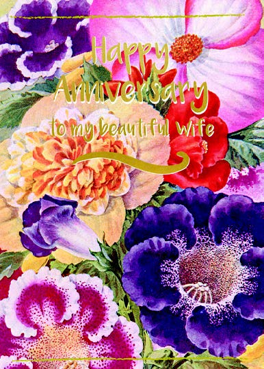 Wife Anniversary card Retail: $3.49 Unit pack 6 Inside: Loving you is a beautiful way...
