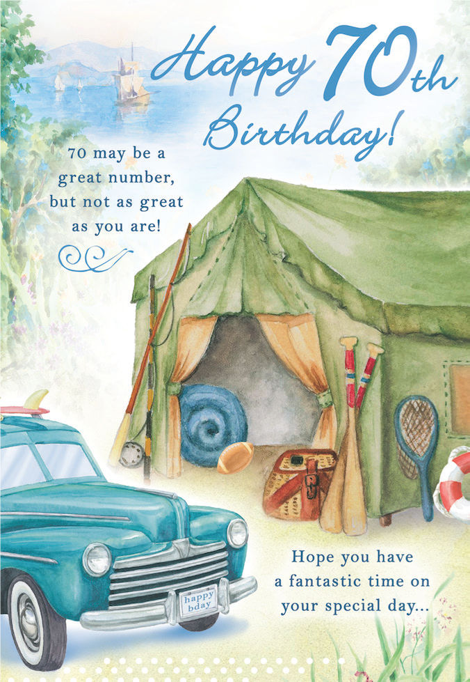 70th Birthday Male greeting card. Inside: ...and may the day be filled with excitement, joy and laughter. Unit pack of 6 cards. Retail $3.99
