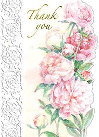 Red roses with white lace border. Thank you card from Carol Wilson Fine Arts. Inside: Your thoughtfulness means so much! Retail: $4.25 Unit pack of 6