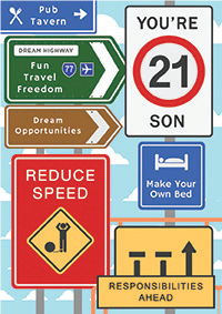 Road signs- 21st son birthday card. Retail $3.49. Unit Quantity 6. Inside: Happy Birthday, son! You are on the road to greatness...