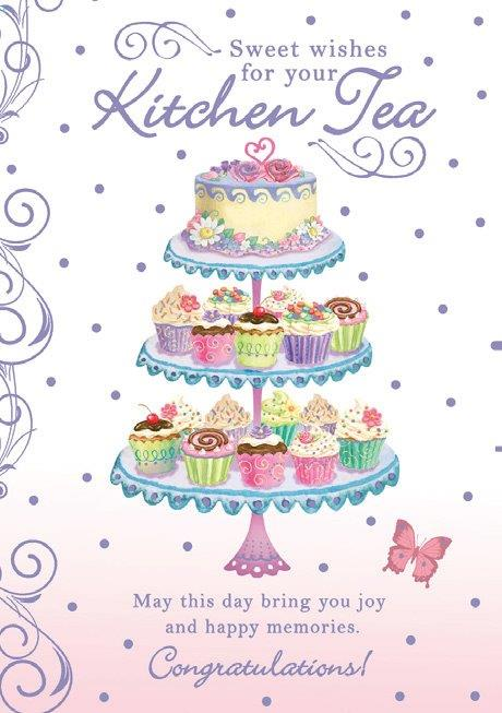 Kitchen Tea themed wedding shower greeting card. Inside: May your marriage be filled with lots of love, laughter and happiness. Unit pack of 6 cards. Retail $3.99