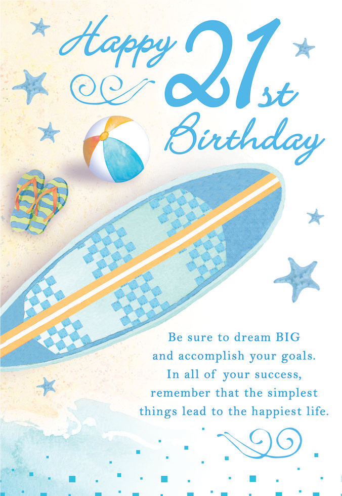 COCKTAIL themed 21 st Birthday MALE greeting card. Inside message: May this birthday be the beginning of a year filled with happy memories. Unit pack of 6 cards. Retail $3.99