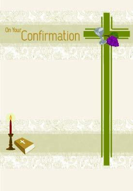 Cross on paisley- General confirmation greeting card. Retail: $2.99. Unit pack: 6. Inside: May God in your heart be a living presence...