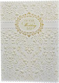 Ornate white damask print on print, glitter embossed die cut wedding greeting card from Carol Wilson Fine Arts Inside: Wishing you love and happiness always. Retail: $4.99 Unit pack 6