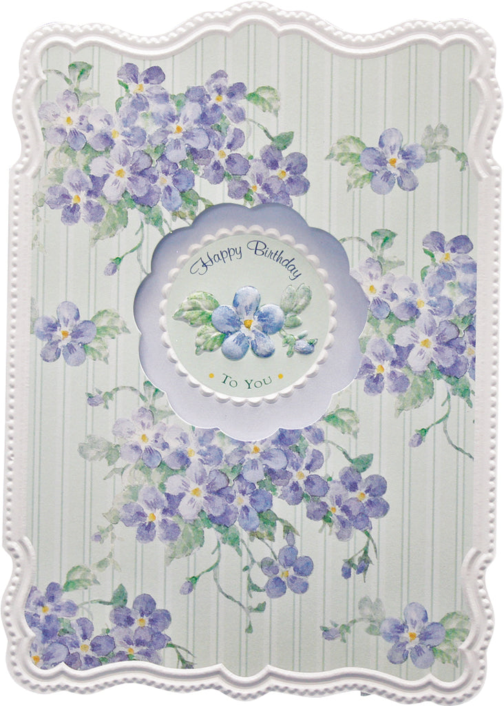 Blooming violets on a green white striped background, embossed die cut general birthday greeting card from Carol Wilson Fine Arts Inside:  May your birthday be as special as you are. Retail; $4.25 Unit pack 6