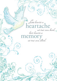 Dove and blue foil- Sympathy greeting card. Retail: $2.99. Unit pack: 6. Inside: Condolences at this sad time...