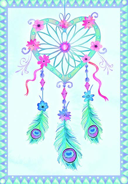 Heart dream catcher themed General birthday card from the Rhapsody collection. Retail $3.49. Unit Quantity 6. Inside: Dreams seen with eyes closed can be forgotten