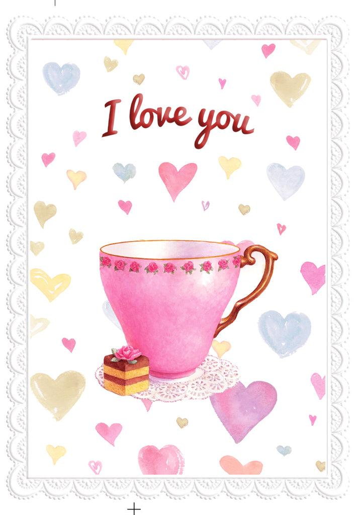 Tea cup with hearts of love embossed die cut Love/thinking of you greeting card from Carol Wilson Fine Arts Inside: Your love is like a cup of tea. Warm and comforting. Retail: $4.25 Unit pack 6