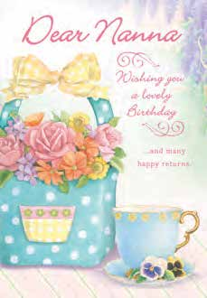 Tea and flower basket themed Nanna birthday greeting card. Inside: may you r special day be filled with many smiles.  Unit pack of 6 cards. Retail $3.99